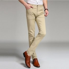 image of BAIYUAN TROUSERS BUSINESS CASUAL SLIM FIT MENS SUIT PANTS KHAKI (KHAKI) 34