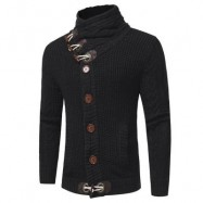 image of COWL NECK HORN BUTTON SINGLE BREASTED CARDIGAN (BLACK) XL