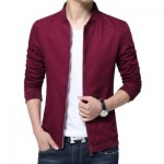 MENS CASUAL SOLID COLOR JACKETS (WINE RED) M