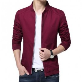 image of MENS CASUAL SOLID COLOR JACKETS (WINE RED) M