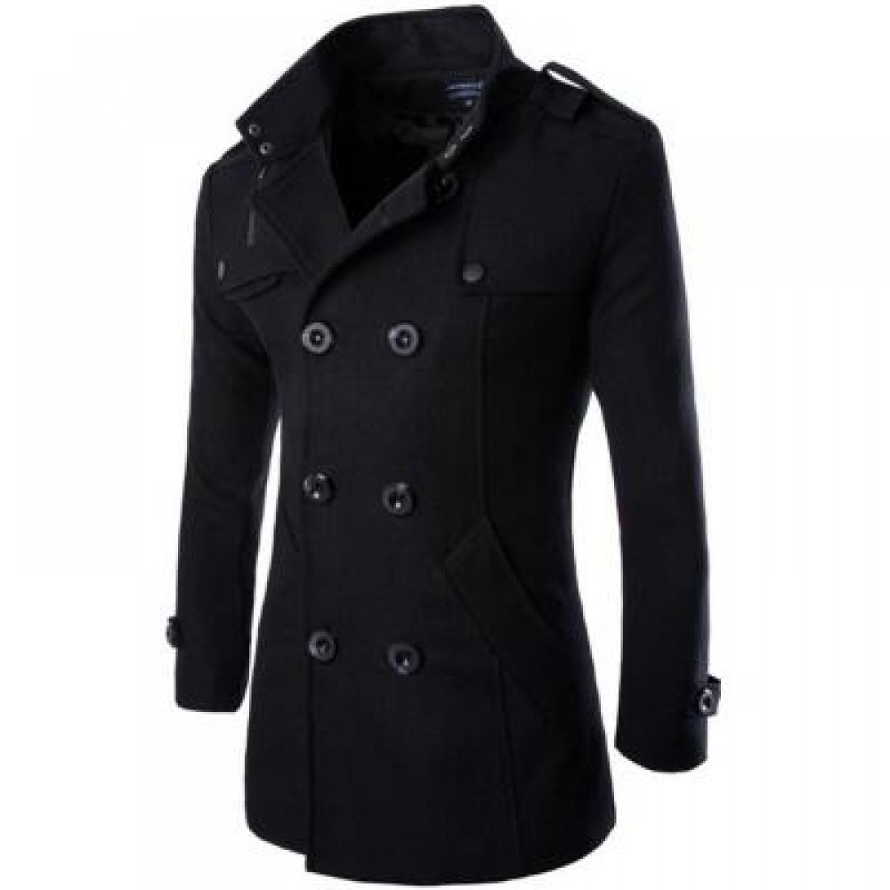 MENS DOUBLE BREASTED LONG SLEEVE TURNDOWN COLLAR COTTON COAT (BLACK) XL