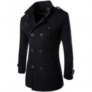 image of MENS DOUBLE BREASTED LONG SLEEVE TURNDOWN COLLAR COTTON COAT (BLACK) XL