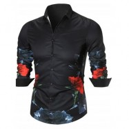 image of BUTTON UP FLOWER PRINTED SHIRT (BLACK) XL