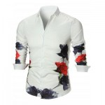 BUTTON UP FLOWER PRINTED SHIRT (WHITE) XL