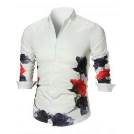 image of BUTTON UP FLOWER PRINTED SHIRT (WHITE) XL
