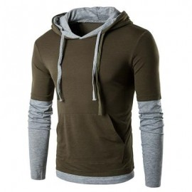 image of PANEL FAUX TWINSET HOODED DRAWSTRING T-SHIRT (ARMY GREEN) XL