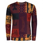 image of TOTEM ETHNIC PRINTED LONG SLEEVE T-SHIRT (COLORMIX) XL