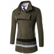 image of TURNDOWN COLLAR OBLIQUE SINGLE BREASTED STIRPE WOOL COAT (ARMY GREEN) XL