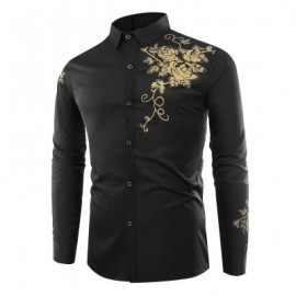 image of FASHION LAPEL ROSE PRINTING CASUAL MEN LONG-SLEEVED SHIRT MEN (BLACK) XL