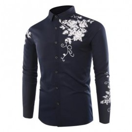image of FASHION LAPEL ROSE PRINTING CASUAL MEN LONG-SLEEVED SHIRT MEN (ROYAL) XL