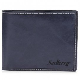 image of BAELLERRY TRANSVERSE WALLET LEATHER CREDIT CARD BIFOLD PURSE FOR MEN (BLUE)