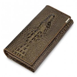 image of MEN STYLISH CROCODILE LEATHER COVER SNAP FASTENER CLUTCH WALLET (GOLDEN) 19.20 x 3.50 x 10.00 cm