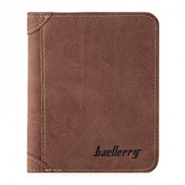 image of SOLID COLOR LETTER EMBELLISHMENT DULL POLISH OPEN HORIZONTAL WALLET FOR MEN (COFFEE, HORIZONTAL/VERTICAL)