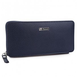 image of MEN PU LEATHER ZIPPER OPEN LONG WALLET (BLUE) 21.30 x 4.00 x 10.30 cm