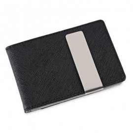 image of OPEN HORIZONTAL PU LEATHER SHORT HARD MONEY CLIP FOR MEN WOMEN (GRAY) 0.8 x 11 x 7.8 cm