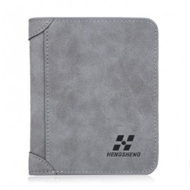 image of SOLID COLOR LETTER EMBELLISHMENT DULL POLISH OPEN VERTICAL WALLET FOR MEN (GRAY) HORIZONTAL