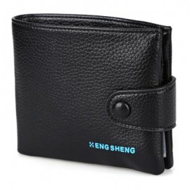 image of LICHEE PATTERN LETTER EMBELLISHMENT HASP DESIGN SOFT SHORT WALLET FOR MEN (BLACK) HORIZONTAL
