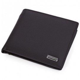 image of LETTER EMBELLISHMENT SOLID COLOR OPEN HORIZONTAL WALLET FOR MEN (COFFEE) HORIZONTAL