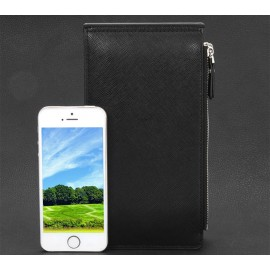 image of DOUBLE ZIPPER SOLID COLOR LETTER HASP WALLET FOR MEN (COFFEE) VERTICAL