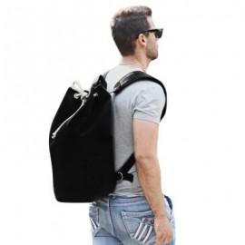 image of DRAWSTRING CANVAS BUCKET GYM BAG PORTABLE BACKPACK FOR MEN (BLACK)