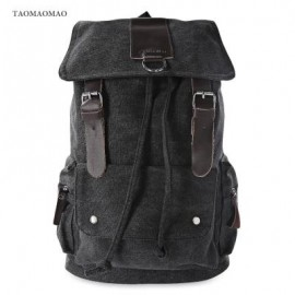 image of TAOMAOMAO CASUAL LARGE CAPACITY POCKET DESIGN BACKPACK (BLACK)