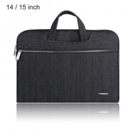 image of SSIMOO 2 IN 1 WATER RESISTANT JEAN FABRIC LAPTOP BAG TABLET ZIPPER POUCH SLEEVE FOR MACBOOK 14 / 15 INCH