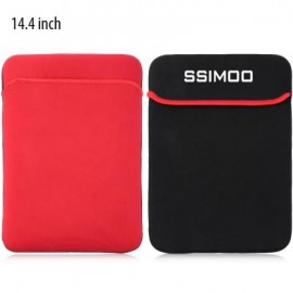 image of SSIMOO SHOCKPROOF DOUBLE-FACED FOAM FABRIC LAPTOP PROTECTIVE BAG TABLET POUCH SLEEVE FOR MACBOOK / SURFACE BOOK (BLACK AND RED)