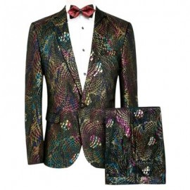 image of COLORFUL SCALES PATTERN BLAZER AND PANTS TWINSET (COLORMIX) XL