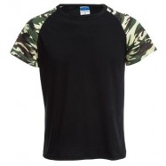 image of ROUND COLLAR SHORT SLEEVE CAMOUFLAGE COTTON BLEND CASUAL T-SHIRT FOR MEN XL