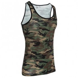 image of SEXY ROUND NECK CAMOUFLAGE COTTON BLEND TANK TOP FOR MEN L