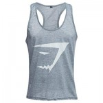 ACTIVE SCOOP COLLAR PRINTED COTTON BLEND RACERBACK GYM TANK FOR MEN (GRAY) XL