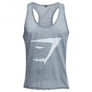 image of ACTIVE SCOOP COLLAR PRINTED COTTON BLEND RACERBACK GYM TANK FOR MEN (GRAY) XL