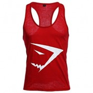 image of ACTIVE SCOOP COLLAR PRINTED COTTON BLEND RACERBACK GYM TANK FOR MEN (RED) XL