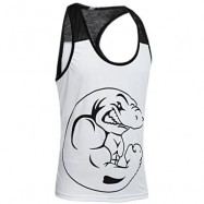 image of ACTIVE SCOOP COLLAR ANIMAL PRINT COLOR BLOCK RACERBACK GYM TANK FOR MEN (WHITE) XL