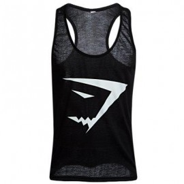 image of ACTIVE SCOOP COLLAR PRINTED COTTON BLEND RACERBACK GYM TANK FOR MEN (BLACK) 2XL