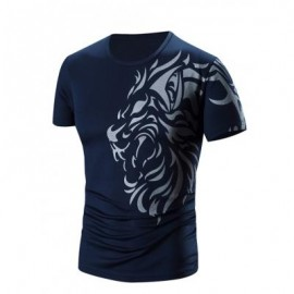 image of ROUND NECK PRINTED SHORT SLEEVE T-SHIRT FOR MEN (CADETBLUE) XL