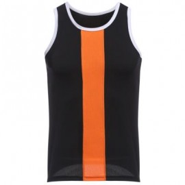image of SIMPLE DESIGN MESH ROUND NECK SLEEVELESS MALE BREATHABLE VEST (BLACK) L