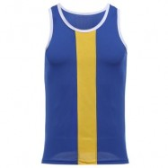 image of SIMPLE DESIGN MESH ROUND NECK SLEEVELESS MALE BREATHABLE VEST (DEEP BLUE) L