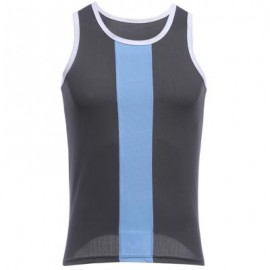 image of SIMPLE DESIGN MESH ROUND NECK SLEEVELESS MALE BREATHABLE VEST (GRAY) L