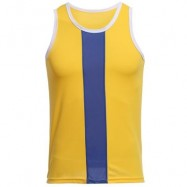 image of SIMPLE DESIGN MESH ROUND NECK SLEEVELESS MALE BREATHABLE VEST (YELLOW) L