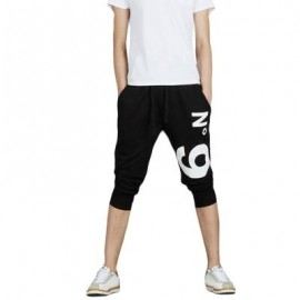 image of STREET STYLE ELASTIC WAIST PRINTED DRAWSTRING CAPRI PANTS FOR MEN (BLACK) XL