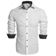 image of CHIC TURN DOWN COLLAR LONG SLEEVE PURE COLOR SHIRT FOR MEN M