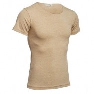 image of CASUAL ROUND COLLAR SHORT SLEEVE SOLID COLOR COTTON BLEND T-SHIRT FOR MEN (BEIGE) XL