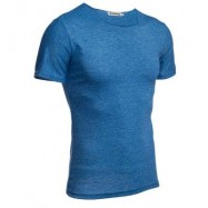 image of CASUAL ROUND COLLAR SHORT SLEEVE SOLID COLOR COTTON BLEND T-SHIRT FOR MEN (BLUE) XL