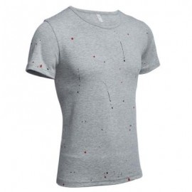image of ROUND NECK SHORT SLEEVE PRINTED TRENDY T-SHIRT FOR MEN (GRAY) XL