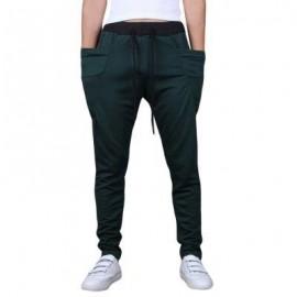 image of CASUAL DRAWSTING POCKET DESIGN COTTON BLEND HAREM PANTS FOR MEN (BLACKISH GREEN) 2XL