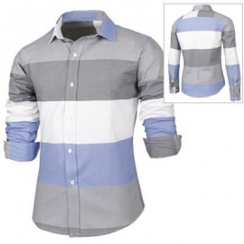 image of TRENDY DISTINCT COLOR BLOCK STRIPES PRINT TURN-DOWN COLLAR SLIMMING LONG SLEEVES MEN'S SHIRT XL