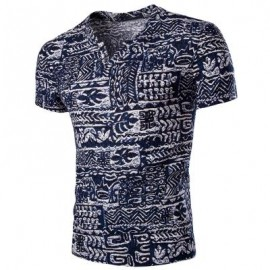 image of CASUAL V NECK ABSTRACT PRINTING SHORT SLEEVES T-SHIRT FOR MEN 2XL