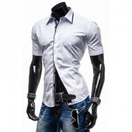 image of CLASSIC BUTTON FLY TURN-DOWN COLLAR SLIMMING SHORT SLEEVES MEN'S POLYESTER SHIRT M