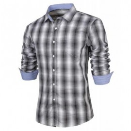 image of SLIMMING TURN-DOWN COLLAR FASHION PLAID PRINT POCKET EMBELLISHED LONG SLEEVES MEN'S SHIRT L